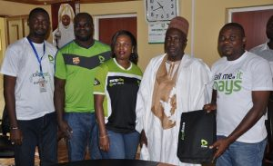 L-R:Musa Aliyu, President, Student Union Government, Nuhu Bamali Polytechnic, Ufuoma Dogun, Manager Events, Etisalat Nigeria; Mrs. Omolade Olajide , North Territory Manager, Etisalat Nigeria, Prof. Dalhatu Balarabe Yahaya, Rector, Nuhu Bamali Polytechnic, Zaria and Michael Nwoseh, Specialist, Youth Segment, Etisalat Nigeria when the Etisalat team paid the Rector a courtesy visit regarding Cliqfest campus event in the school recently