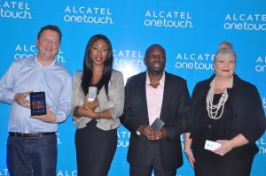 L-R: Julien Fourit, Director Sales, Africa, Alcatel Onetouch, Gozy Ekeh-Ijogun, Managing Director, TD Mobile, Nick Imudia, Regional Director for Nigeria and Central Africa, Alcatel Onetouch and Kath Smith, Senior Area Marketing Manager for Africa, Alcatel Onetouch at the relaunch of the Alcatel Onetouch brand in Nigeria.