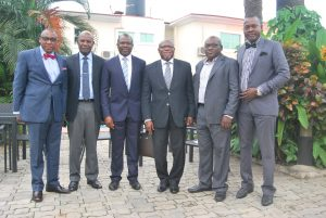 From left: Yomi Badejo –Okusanya,MD of  CMC Connect  Burston- Marsteller -Sponsor of the event, Vincent Oyo, MD, Image Consulting, David Okeme, President of ADVAN & Guest Speaker, John Ehiguese, PRCAN President, Vice President Muyiwa  Akintunde, and Secretary General, Adetola Odusote, both of PRCAN