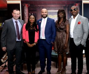 L-R:GM, Diageo Brands Nigeria, Mr. Neil Comerford; Brand Manager, Johnnie Walker, Ms. Oyinade Olufemi-Osobajo; Head of Reserve, Mr. Joe Nazzal and Joy Ambassador, Don Jazzy at the launch of Johnnie Walker 'JOY WILL TAKE YOU FURTHER' Campaign in Lagos
