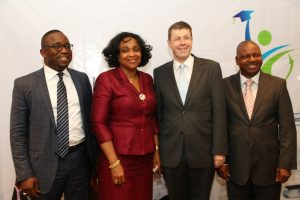 L-R Country Manager, Roche Product Limited, Herman Addae; Representative, Permanent Secretary, Federal Ministry of Health, Dr. Ngozi Azodo; Deputy Head of Mission, Swiss Embassy, Daniel Cavegn and Director, Professional Education, School of Media & Communications, Pan-Atlantic University, Isaac Ezechukwu, at the Launch of the Health Journalists Academy powered by Roche, held at Wheatbaker Hotel, Ikoyi, Lagos