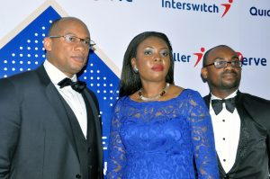 L-R: Group Managing Director, Interswitch, Mitchell Elegbe, Chief Marketing Officer, Interswitch, Cherry Eromosele and Chief Executive Officer, Interswitch Gambia, Vincent Ogbunude at the launch of the new Interswitch Corporate Identity in Lagos
