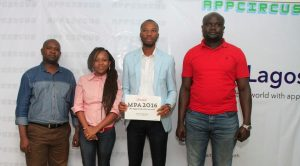 L-R: Strategic Business Director, Intel, Stanley Muoneke; Software and Services Lead,Intel East Africa, Agatha Gikunda; Member of Winning Team- Verge POS, Ogochukwu Francis; and Applications Engineer, Intel East Africa, Frederick Odhiambo at the App Circus Lagos Competition which held at CCHub Nigeria recently.