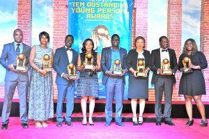 from left to right-  Honorees of 2015 JCI Nigeria TOYP Dr. Abdulkadir Mukhtar, Atinuke Odjenima, Araba Steve Omogbolahan, Patricia Uyi-Aivinhenyo, Stephen Akintayo. Lolade Oresanwo, Ibikun Onutiju, Adebola Olomo at the JCI Nigeria TOYP awards held in Lagos