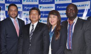 right ; Mr John Woma,Media Consultant, Mr Mohamed Miraj Mohamed Abbas,Regional Director,Africa Daikin Air Conditioning Middle East & Africa; Mr Sano Ryoji,President,Daikin Middle East & Africa and Ms Kunga Miyuki,Interpreter. At the Press Conference of Daikin Air Conditioning Japan held in Lagos on Sunday at Intercontinental Hotel  Victorial Island Lagos