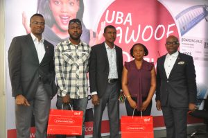 l-r: Head, Strategy and Products, Mr. Idukpaye Iyke; a customer, Mr. Frank Danielson;  Representatives of National Lottery Commission, Mr. Ogbonaya Onu; a Customer, Mrs Elizabeth Madu; and Head, Marketing and Brand Communication, UBA Plc, Mr. Ikemefuna Mordi,  at the grand draw for UBA Remittance AWOOF Promo to reward customers who received MoneyGram and Western Union money transfer through the Bank, held  in Lagos