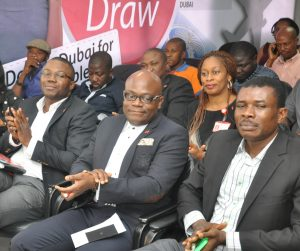 l-r: Head, Brand Management, UBA Plc, Mr. Toruka Osadunkwu; Head, Marketing and Brand Communication, UBA Plc, Mr. Ikemefuna Mordi; Representatives of National Lottery Commission, Mr. Ogbonaya Onu, at the grand draw for UBA Remittance AWOOF Promo to reward customers who received MoneyGram and Western Union money transfer through the Bank, held  in Lagos on Friday