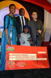 L-R: CEO, Stanbic IBTC, Mrs Sola David Borha; 2nd place winner, 2015 IIDA, Innicent Yamawo; Public Relations Manager, Dufil Prima Foods Plc, Mr Tope Ashiwaju and Chief marketing Officer, Tolaram Group, Mr Pawan Sharma at the 2015 IIDA event held in Lagos