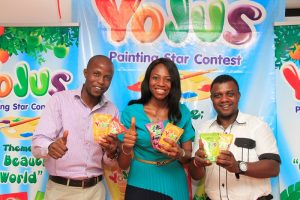 """L-R: Events and Promotion Manager, Yojus Fruit Drink, Adedotun Adelaja; Brand Manager, Yojus Fruit Drink, Foluke Makinde and Goddie Ofose, Chairman, Brand Journalist Association of Nigeria at Yojus """"Painting Star Contest"""" Press Event sponsored by Ranona Limited, a member of Olam Group held  in Lagos"""