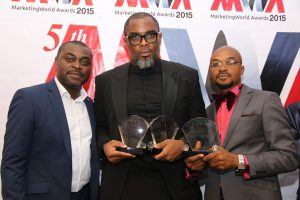 Group Publisher/Organiser of Marketing World Awards, Akin Naphtal(Left) Senior Brand Manager-Star, Nigerian Breweries, Ita Bassey, and CEO, Oracle Experience Felix King Eiremiokhae at the 2015 Marketing World Awards at Oriental Hotel, Lagos