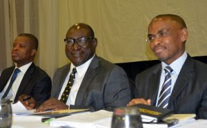 L-R, Sesan Sobowale, Company Secretary, Guinness Nigeria Plc, Babatunde Savage, Chairman and Peter Ndegwa, MD/CEO during the 65th annual general meeting of Guinness Nigeria Plc in Abuja