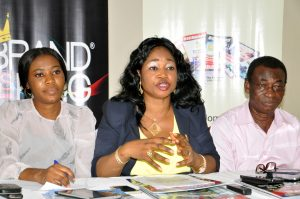 L-R;Janet Udogu,Mrs Maureen Umanah,Editor-in-Chief Billboard world Magazine and Quaye Tawiah,Editorial Consultant ;All of Billboard World Magazine.At the Press Conference on 2015 Brand as King Award in Lagos.