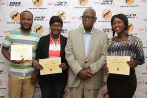 Mr. Nn'emeka Maduegbuna, Chairman/CEO, C&F Porter Novelli (second from right) flanked by Ilabeshi Gabriel,(left), Oluwafolakemi Olabanji (second left) and Stella Olaokun (right) all members of 2015 graduating class of C&F PR Fundamentals Internship Programme, at a graduating ceremony held in Lagos over the weekend