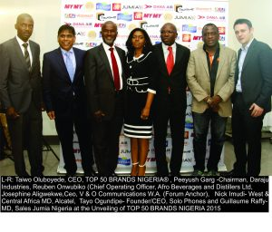From left: Oluboyede; Peeyush Garg (Chairman, Daraju Industries); Reuben Onwubiko (Chief Operating Officer, Afro Beverages and Distillers); Josephine Aligwekwe (CEO, V & O Communications); Nick Imudi (Alcatel MD, West & Central Africa MD); Tayo Ogundipe (founder/CEO, Solo Phones); and Guillaume Raffy (Jumia Nigeria MD Sales); at the event.