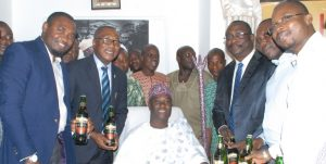 Brand Manager Goldberg, Mfon Bassey, Public Affairs Manager West/Mid-West Nigerian Breweries Plc, Tayo Adelaja, Ooni of Ile-Ife, Oba Adeyeye Enitan, Business Manager Ibadan Nigerian Breweries Plc, Joseph Bodunrin, Regional Marketing Manager, Ayo Oke and the Area Sales Manager, Ayodeji Odewabi during Goldberg courtesy visit to the Ooni in Ile-Ife, Osun State today