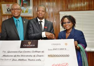 Chief Medical Director, Lagos University Teaching Hospital (LUTH), Prof. Christopher Bode, Corporate Relations Director, Guinness Nigeria, Sesan Sobowale and Head of Department, Guinness Eye Centre, LUTH, Prof Folasade Akinsola at a cheque presentation ceremony by Guinness Nigeria which held at the Boardroom of the LUTH, Idi-Araba, Lagos