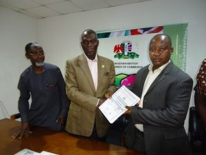 L-R: Managing Partner Costec Consultants, Mr. Agele  Alufohai ; President Nigerian-British Chamber of Commerce (NBCC), Prince Dapo Adelegan  and Managing Director Case Project Ltd, Mr. Femi Abiodun Ajayi at the official signing of the contract document  for the construction of the NBCC Plaza in Lagos