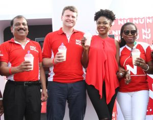 L-R: Marketing Director, Mr. Kalyan Bandyopadhyay; Managing Director, Nutricima; Mr. Eelco Weber; Brand Ambassador, Nunu, Omoni Oboli and Group, Corporate Affairs Director, PZ, Mrs. Yomi Ifaturoti at the relaunch of Nunu in Lagos…