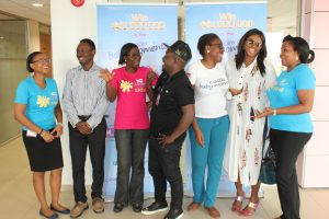 L-R: Assistant Brand Manager, Cussons Baby, Tobi Adetunji, Head of Category & Channel Marketing, Jimi Taiwo, Category Manager, Mildred Bagshaw, One of the judges, Jude Abaga (MI), Brand Manager Family Care, Oluwaseun Ayeni, another judge, Waje Iruobe and Category Manager, Family Care, Faith Okoli during the visit of Cussons Baby Moments Grow and Shine judges to the PZ Cussons headquaters in Lagos Recently.