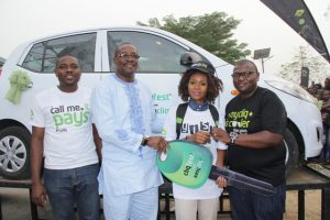 L-R: Specialist, Youth Market Segment, Etisalat Nigeria, Michael Nwoseh; Dean, Student Affairs, University of Calabar, Prof. Eyong Ubana Eyong; Winner of Cliqfest star prize, Ukama Violet, a 400L student of Soil Science and Manager, Youth Market Segment, Etisalat Nigeria, Idiareno Atimomo at the recently held Cliqfest campus activation at the University of Calabar, Cross Rivers State.