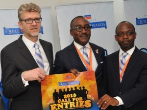 ): (L-R) Mr Olivier Thiry, Managing Director, Promasidor Nigeria Limited; Mr Andrew Enahoro, Head, Legal/Public Relations, Promasidor; and Mr. Festus Tettey, Head, Marketing, Promasidor; at the Media Briefing held on 2016 Promasidor Quill Awards at the Promasidor's Office in Lagos on Thursday