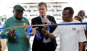 L-R Amb Patrick Dele Cole, Chief Executive Officer, Spectranet 4G LTE, David Venn and Chairman Intercontinental Distillers Ltd, Dr Ishmael Igbani during the commissioning of Spectranet office and Commercial Launch of Spectranet Brand in Port Harcourt