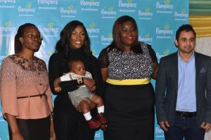 L-R: Pampers Paediatrician; Dr. Akionla Ronke, Pampers #momsknowbest Advocate; Tiwa Savage, Brands Marketing Director Procter and Gamble Nigeria; Ehis Enekabor and Pampers Brand Manager; Ovais Yousuf, during the unveiling of the Pampers' new campaign #momsknowbest.