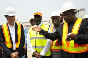 L-R  CEO, AG-Dangote , Construction Company Ltd., Ashif Juma, Chairman (NIHE) Nigerian  Institution of Highway Engineers, Engr. Isa Usman Emoabino,  Technical Secretary  of Nigerian Institution of Highway Engineers Engr.Samuel  Ilugbekhai, listen to Ex-Officio of the Nigerian  Institution of Highway Engineers Engr. Dayo Oluyemi, at the Inspection of the Concrete Road  Constructed by AG-Dangote ,on Itori - Ibese Road Ogun State .