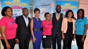 From Left; Mrs Faith Okoli, Group Brand Development and Activation Manager, Personal Care ; Falola Tosin, CEO Refined Network ; Yetunde Babaeko, Creative Director-Photography; Miss Oluwatobi Adetunji, Assistant Brand Manager Baby; Mai Atafo, Bespoke Tailor and Fashion Designer, with  Mercy Aigbe-Gentry , Film Maker and Actress and OluwaSeun Ayeni, Brand Manager Antiseptics. At the Cussons Baby Moments Baby of the Year 2016 Judges Visit to Pz Cussons  Head Office in Lagos