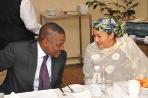 L-R: President of Dangote Group, Aliko Dangote discussing with the Honourable Minister for Environment, Hajia Amina Mohammed over the weekend during a breakfast meeting held in Abuja