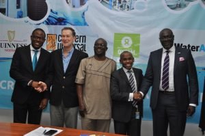 Sustainable Development Manager, Guinness Nigeria Plc, Mr. Osita Abana; Country Director, Concern Universal Nigeria, Mr. Tim Connell; Programme Officer, Integrated Water Resource Management, OXFAM Nigeria, Mr. Eyong Sunday; Managing Director, Guinness Nigeria Plc, Mr Peter Ndegwa, and Country  Representative, WaterAid Nigeria, Dr. Michael Ojo at a media briefing on their partnerships on Water Sanitation and Hygiene (WASH) programmes in Lagos