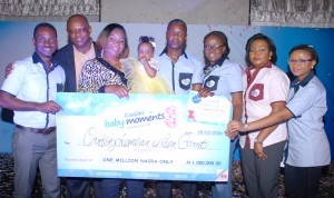 From Left;Jimi Taiwo, Regional Director, Family Care, Cussons Baby, Sampson Ekpeyong, National Sales Manager, Family Care,Mrs Eraromena Grant Mother of the baby; Oritsejolomisan Nina Grant baby;Winner Of Cussons Baby Moments 3 Competition; Alex Goma, MD Family Care, Oluwaseun Ayeni,Brand Manager, Family Care, Faith Okoli, Marketing Manager,Baby & beauty And Toby Adetunji, Assistant Brand Manager, Cussons Baby At the Cussons Baby Moments 3 Competition, Photo By Akeem Salau.