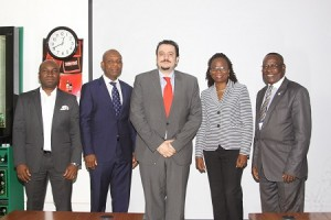 L-R: Marketing Manager, Consumer Market Intelligence, Nigeria Breweries Plc, Mr. Samson Oloche; 1st Vice President and Vice Chairman, National Institute of Marketing of Nigeria, Mr. Tony Agenmonmen; Marketing Director, Nigerian Breweries Plc, Mr. Franco Maria Maggi; Council Member, NIMN, Mrs. Yomi Ifaturoti; and President and Chairman of Governing Council, NIMN, Mr. Ganiyu Koledoye; during a courtesy visit to NB Plc in Lagos... on Tuesday.