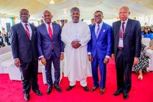 From left: Ike Ekweremadu, the deputy senate president, Tony Elumelu, Chairman, Heirs Holdings, Ifeanyi Ugwuanyi, Governor of Enugu state, Ike Chioke, Managing Director, Afrinvest West Africa and Pascal Dozie, founder, Diamond Bank, during the Enugu Investment Summit