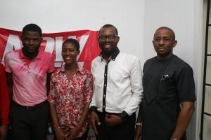 L-R: Chief Operating Officer, Adiba Supermarket, Samuel Udeji; Human Resource Manager, Nengi Niyi-Oseni; Chief Executive Officer, Chris Udeji and Dr. Eloka Umeh, at the launch of Adiba.com an online mall of the company in Lekki, Lagos