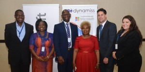 From Left: Chief Executive Officer, Dynamiss Digital Learning Solutions Limited, Roland Sodeinde; Hon Commissioner for Education, Anambra State, Prof Kate Omenugha; Public Sector Director, Microsoft Nigeria, Hakeem Adeniji-Adele; Director of ICT, Federal Ministry of Education, Mrs Uwem Asomugha; Head of Business Development, Learning Possibilities Limited, Jonathan Muir; and Education Programs Manager, Microsoft Nigeria, Jordan Belmonte today in Civic Centre, V.I for the Future of Learning Conference organised by Microsoft in Partnership with Dynamiss.