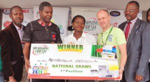 From Left;Ojeh Afam; Assistant Manager;National Lottery Regulatory Commission;Mr Alex Goma,Managing Director,Family Care Pz Cussons;Mrs Akinbobola Mojisola,Grand Winner of Morning Fresh promo;Jim Judson,Regional Managing Director,Family Care Africa and Mr Nggada Joshua Yakubu,Deputy Director Consumer Protection Council Head Lagos Office. At the Presentation of Prize to the Winner of Morning Fresh Kichen Makeover Promo held at Pz Cussons Office Ilupeju Lagos on Friday- 789marketing