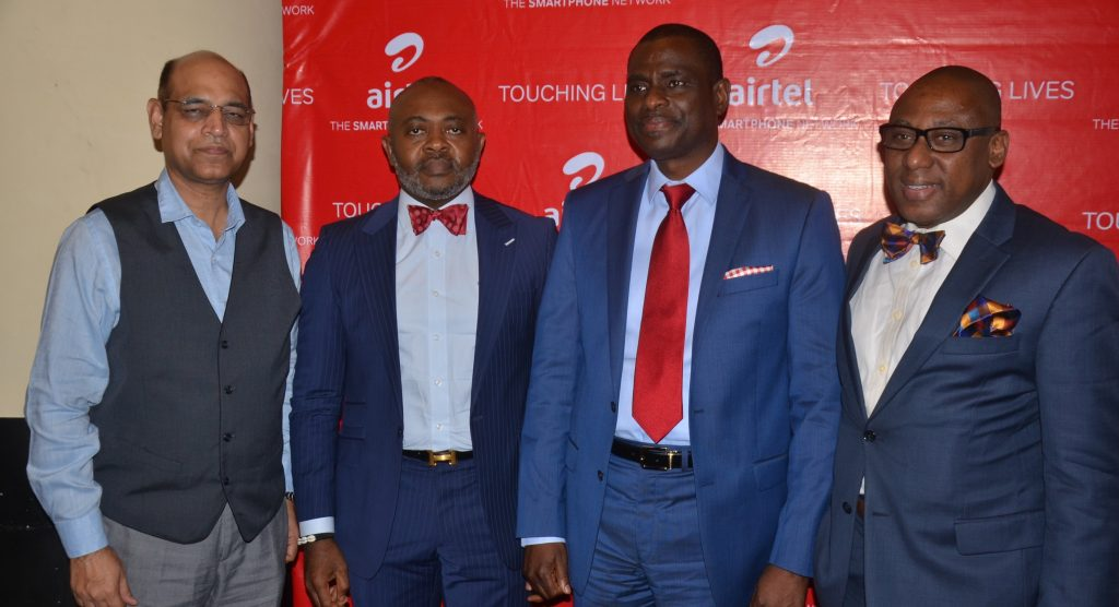 L-R: Managing Director and Chief Executive Officer, Airtel Nigeria, Mr. Segun Ogunsanya (2nd right); Chief Technical Officer, Airtel Nigeria, Mr. Awadesh Kalia (left); Director, Corporate Communications & CSR, Airtel, Emeka Oparah (2nd left) and Managing Director, CMC Connect Burson Marsteller, Mr. Yomi Badejo-Okusanya at the launch of Airtel Touching Lives Season Three held in Lagos on Thursday. - 789marketing