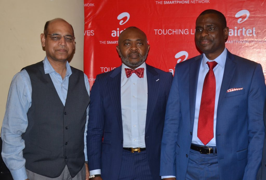 R-L, Managing Director and Chief Executive Officer, Airtel Nigeria, Mr. Segun Ogunsanya; Director, Corporate Communications & CSR, Airtel Nigeria, Emeka Oparah and Chief Technical Officer, Airtel Nigeria, Awadesh Kalia at the unveiling of Airtel Touching Lives Season Three held in Lagos on Thursday - 789marketing