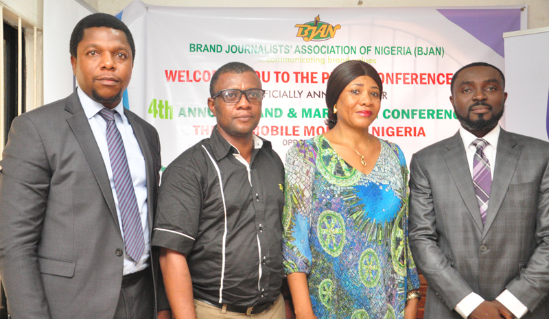 """L-R: Melvin Awolowo, acting communication manager, Stanbic IBTC; Goddie Ofose, chairman, Brand Journalists' Association of Nigeria (BJAN)Ms Clara Okoro,Vice Chairman,BJAN and Bennet Frimpong, marketing manager, personal and business banking, Stanbic IBTC, at the press conference to announce the 4th annual brand & marketing conference with the theme """" Mobile Money in Nigeria"""" held in Lagos. PHOTO;AKEEM SALAU - 789marketing"""